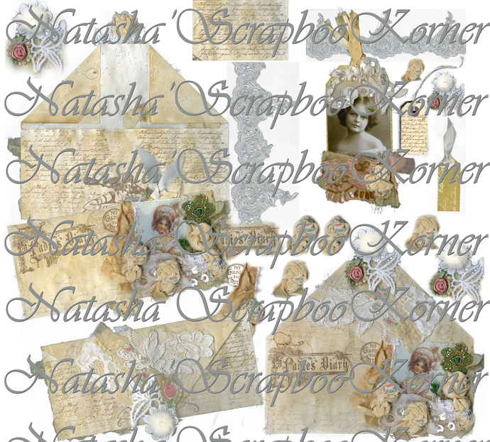 Envelope Vintage Boho Printable Digital Tags & Flowers Ephemera PNG