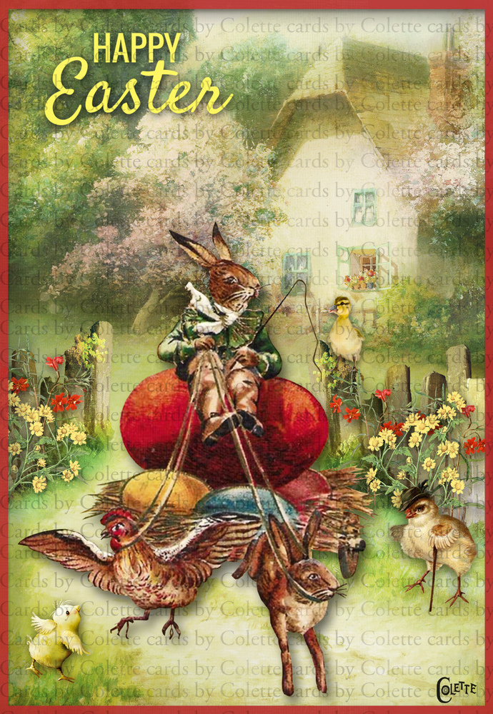Easter Bunny Riding Egg Cart Digital Collage Greeting Card2253