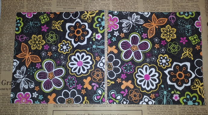 N176 Paper Napkins (Pack of 2) Black and Bright Coloured flowers Tropical
