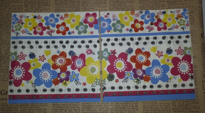 N189 Paper Napkins (Pack of 2) Bright Flowers 70s Pink Yellow and Blue