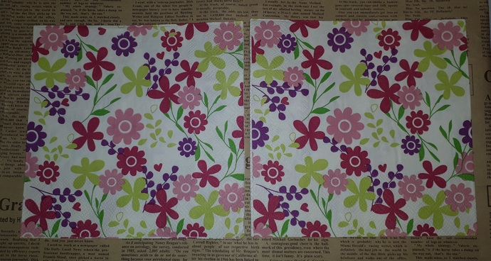 N193 Paper Napkins (Pack of 2) Bright Flowers Pink Rasbery Pink Yellow and