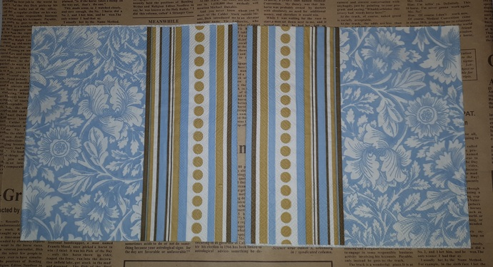 N215 Paper Napkins (Pack of 2) Blue and Flower Brown and Cream Stripes and Dots