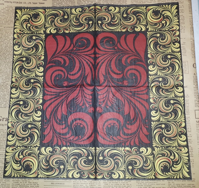 N218 Paper Napkins (Pack of 2) Black and Gold Swirls Red and Black Swirls