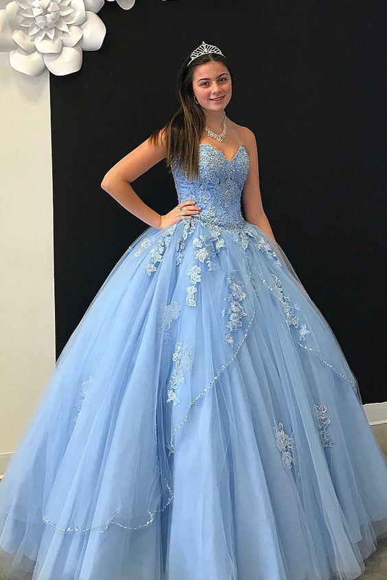 Sweetheart Sky Blue Long Ball Gown Prom Dress