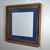 Upcycled wood picture frame 12x12 dark blue mat with glass 16x16 without mat