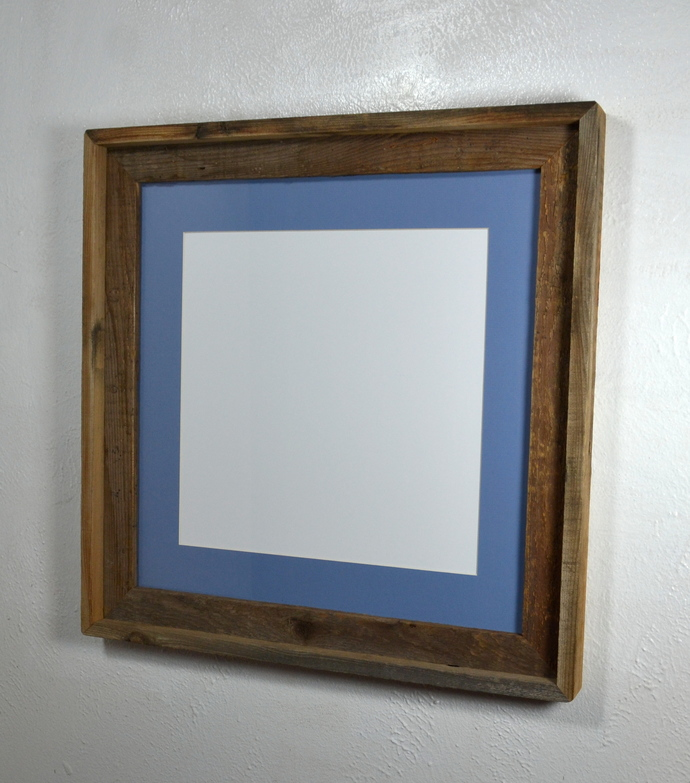Recycled wood picture frame 12x12 light blue mat with glass 16x16 without mat