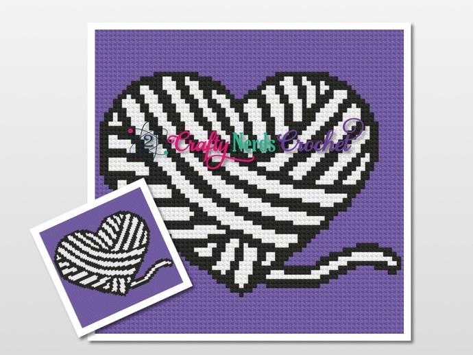 Yarn Heart CGL Birthday CAL Block Pattern Graph with SC Single Crochet Written