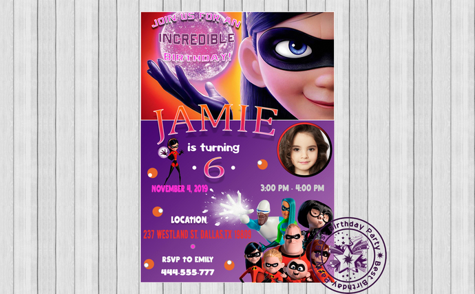Incredibles birthday invitations, The Incredibles 2 Violet Birthday Party