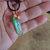 Apple Aura Crystal Quartz Point Pendant, Copper Wire Wrap, Hammered Copper