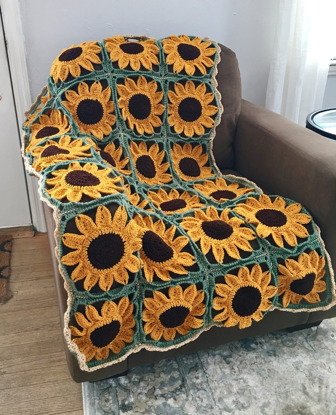 Sunflower Square Blanket Crochet Pattern - PATTERN ONLY - Instant Download