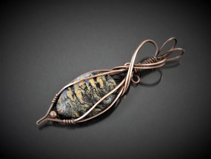 Tiger Eye Jasper Copper Pendant; Wire Wrapped Pendant  (P140)