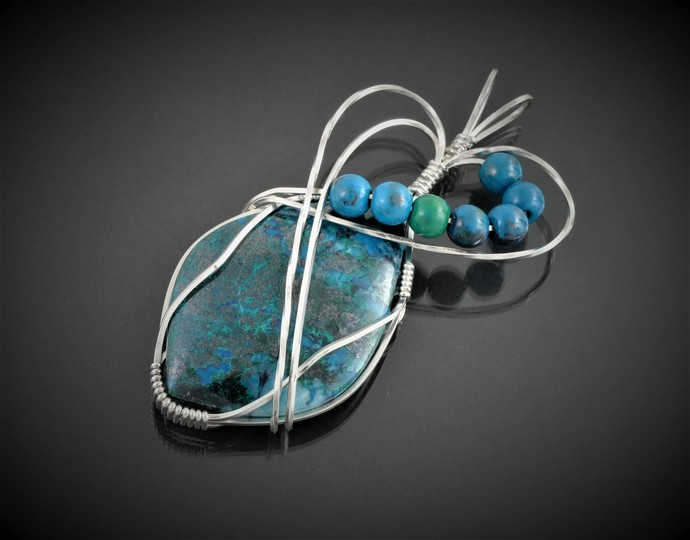 Chrysocolla Sterling Silver Pendant, Wire Wrapped Pendant (P109)