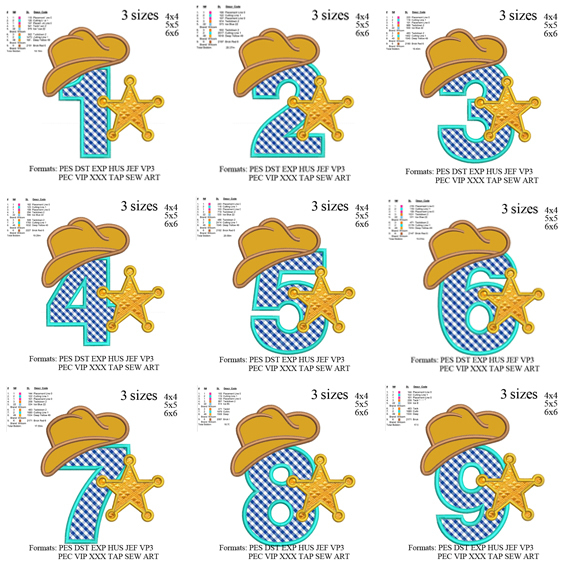 sheriff set applique embroidery Sheriff star set applique embroidey , 9