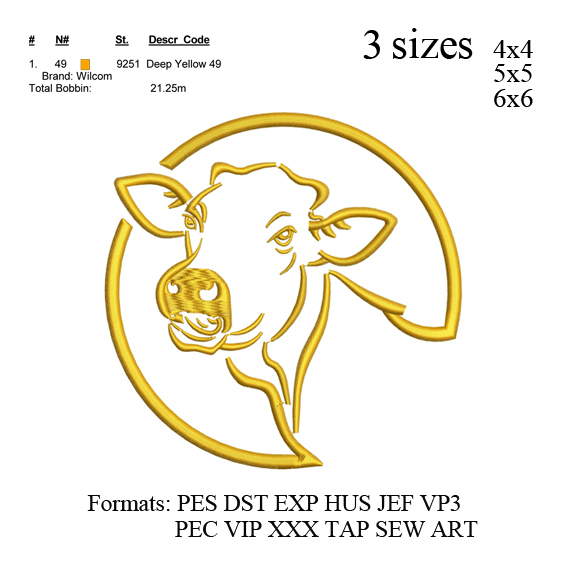 Cow head embroidery design,  Cow embroidery, embroidery pattern N 820  ... 3