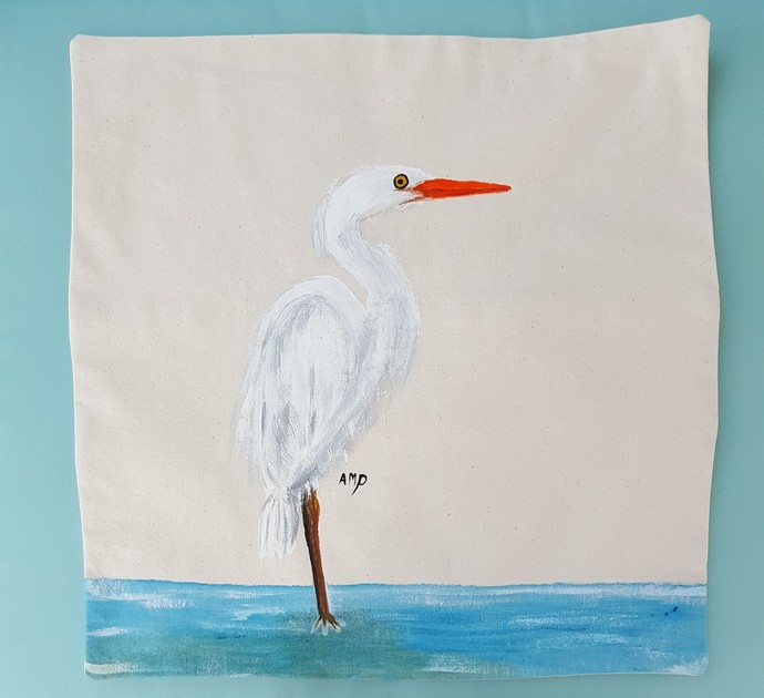 Decorative Pillow Cover, Handmade and Hand Painted Pillow Cover, Great White