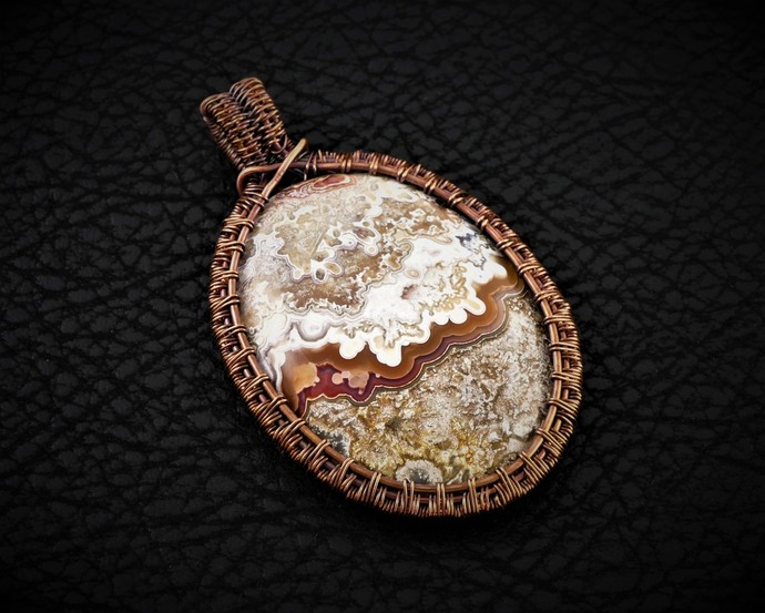 Crazy Lace Agate Copper Pendant; Wire Wrapped Woven (P104)