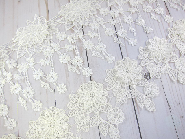 """Embroidered Dangle Layered Flower Applique Venice Lace - 4 1/4"""" Off White, 6"""