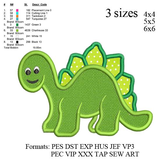 Dinosaur Boy Applique embroidery design, Dinosaur Boy Applique embroidery