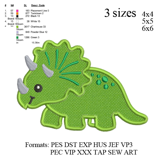 Dinosaur Applique embroidery design, Dinosaur Boy Applique embroidery pattern No