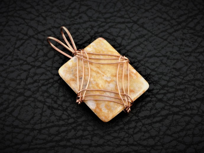 Jasper Copper Pendant; Copper Wire Wrapped Diamond Design (P132)