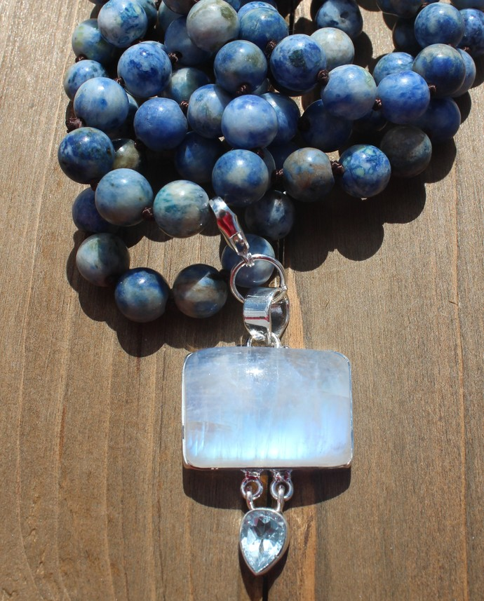 Stunning Long beaded Necklace with Pendant Blue Moonstone Boho Jewelry by