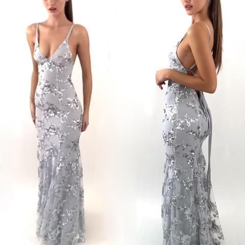 Sexy Mermaid Open Back Unique Formal Long Prom Dresses
