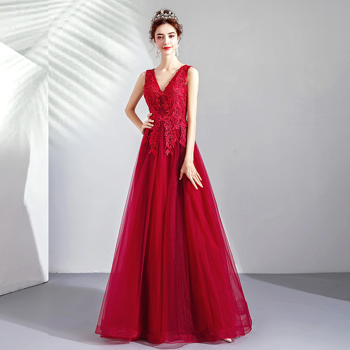 Flame light red red sexy deep V-neck bride wedding toast clothing wedding dress