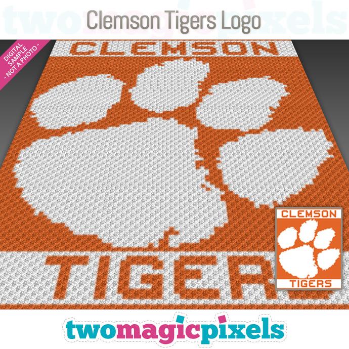 Clemson Tigers Logo crochet graph (C2C, Mini C2C, SC, HDC, DC, TSS), cross
