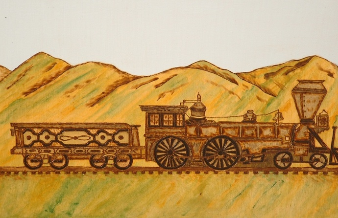 Wall Art, Old Train, Pyrography, Wood Burning, Hand Painted Art