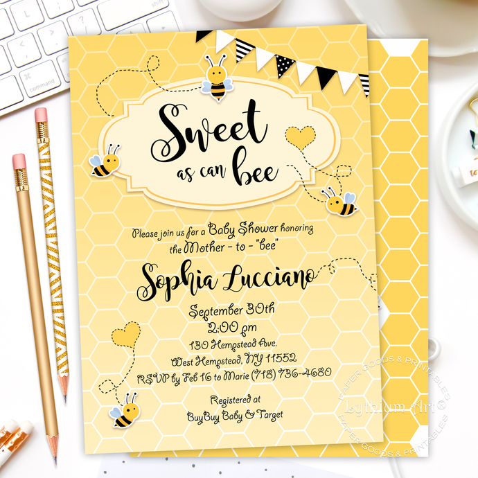 Sweet As Can Bee Backdrop, Digital File, Bumble Bee Party