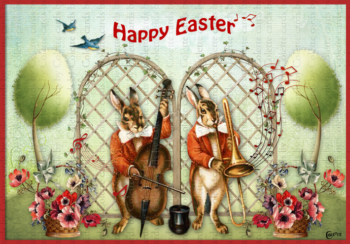 Easter Bunny Musicians Greeting Digital Collage Greeting Card2260