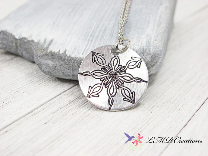 Stamped Mandala Necklace, Flame Design Mandala Pendant, Round Mandala Jewelry,
