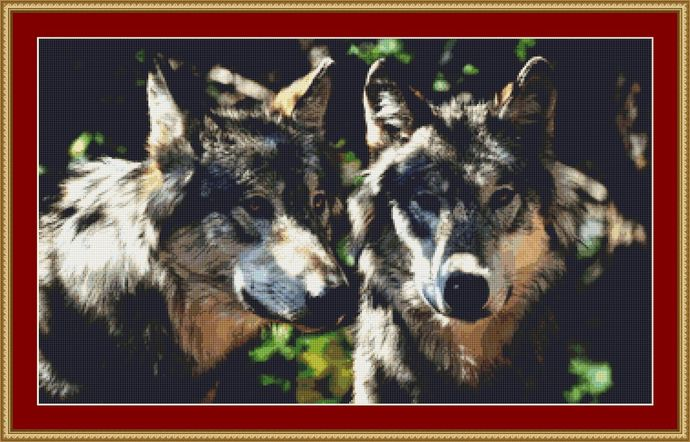 A Pair Of Grey Wolves Cross Stitch Pattern - Instant Digital Downloadable