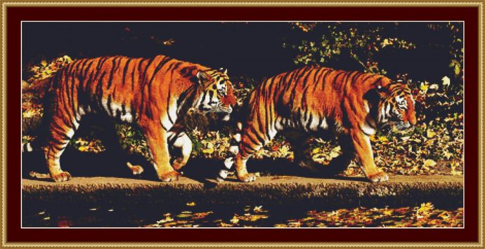 A Pair Of Tigers Cross Stitch Pattern - Instant Digital Downloadable Pattern