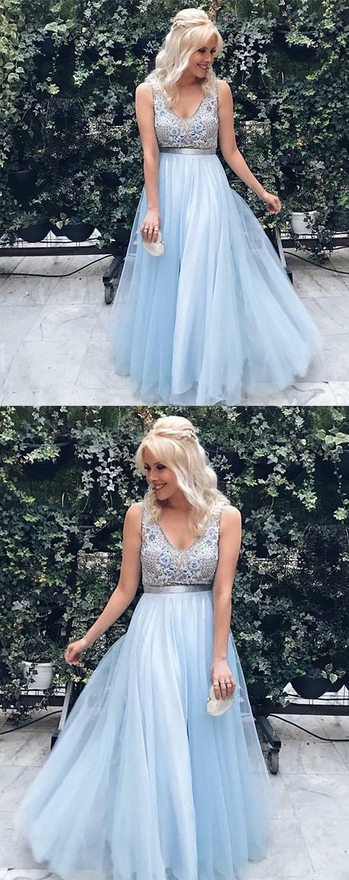 Gorgeous Princess A-Line V-Neck Floor-Length Blue Tulle Prom Dress With Lace