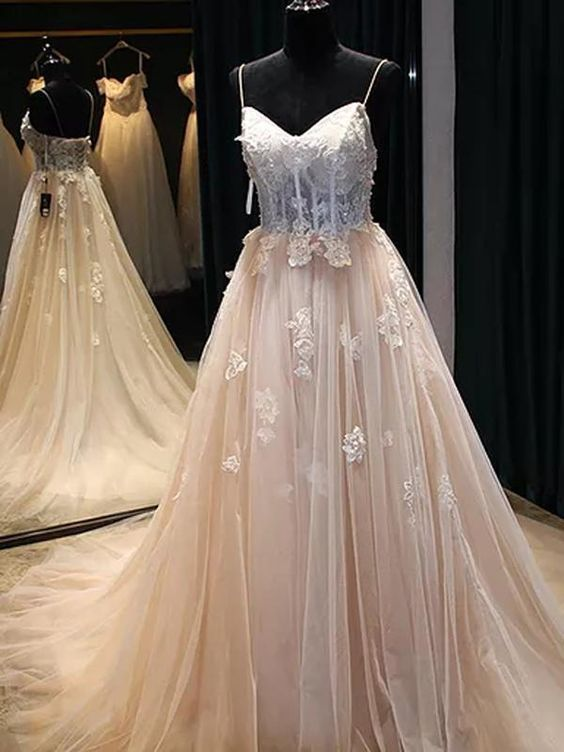 Pretty Charming Sexy Prom Dress Spaghetti Straps Brush Train Appliques Beading