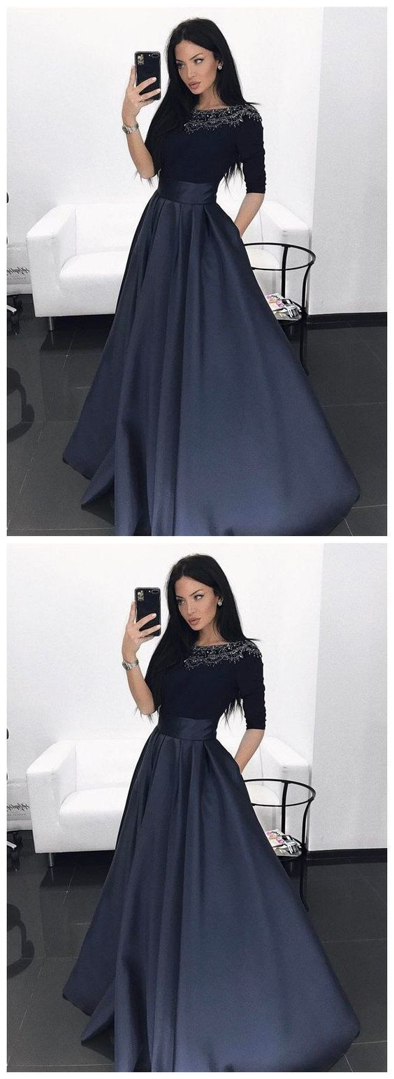 Elegant Long Prom Dress, navy prom party dresses with half sleeves beaded,