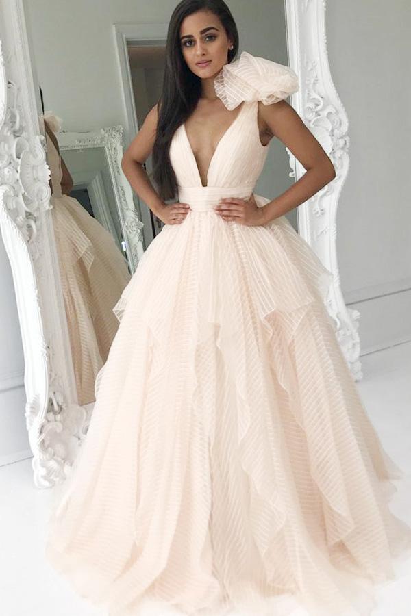 Beautiful Sexy V Neck Prom Dresses Straps A-line Floor-length Long Prom Dress