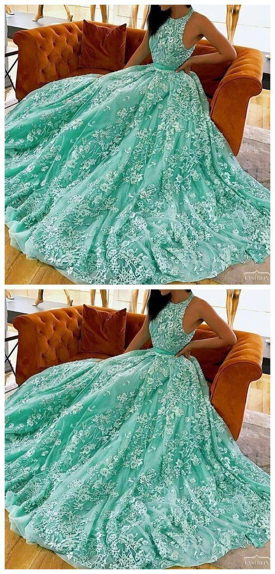 Fabulous Evening Dress,luxury mint prom dresses modest long party dresses FT3698