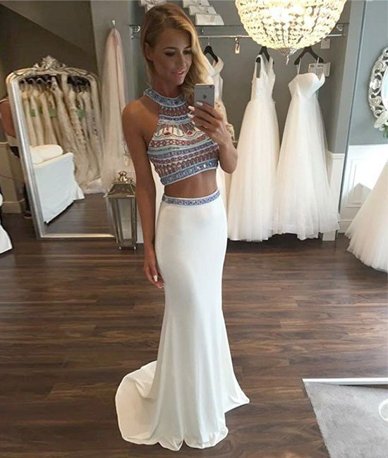 Sexy Sleeveless Two Piece Prom Dress, Crystal White Long Prom Dresses
