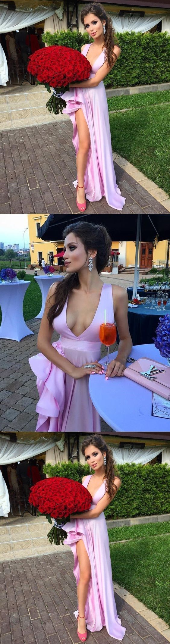 Simple Charming Unique A Line Deep V Neck Long Pink Satin Prom/Cocktail Dress