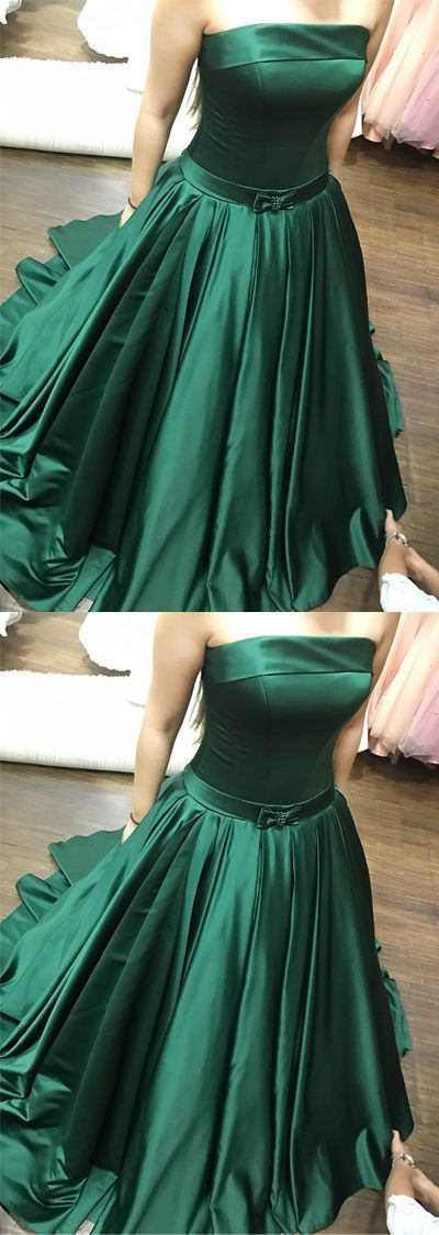 Elegant pretty unique hunter green prom party dresses, fashion strapless ball
