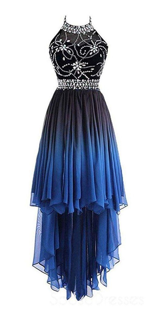 Fashion High Low Gradient Color Chiffon Prom Dress, Beaded Short Homecoming