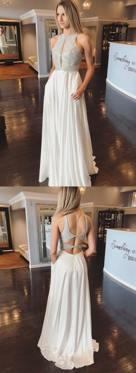 Pretty Elegant Jewel Open Back Sleeveless White Prom Dress with Sequin Pockets