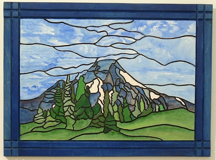 Mountain and Valleys Wood Wall Art, Intarsia Landscape, Sculpture Wall Hanging