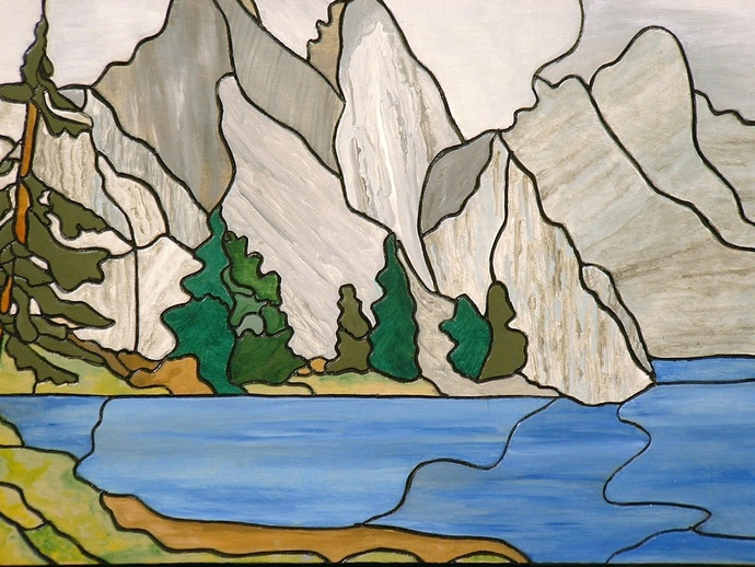 Landscape, Mountains, Lakes, Wood Wall Art, Wall Hanging, Intarsia