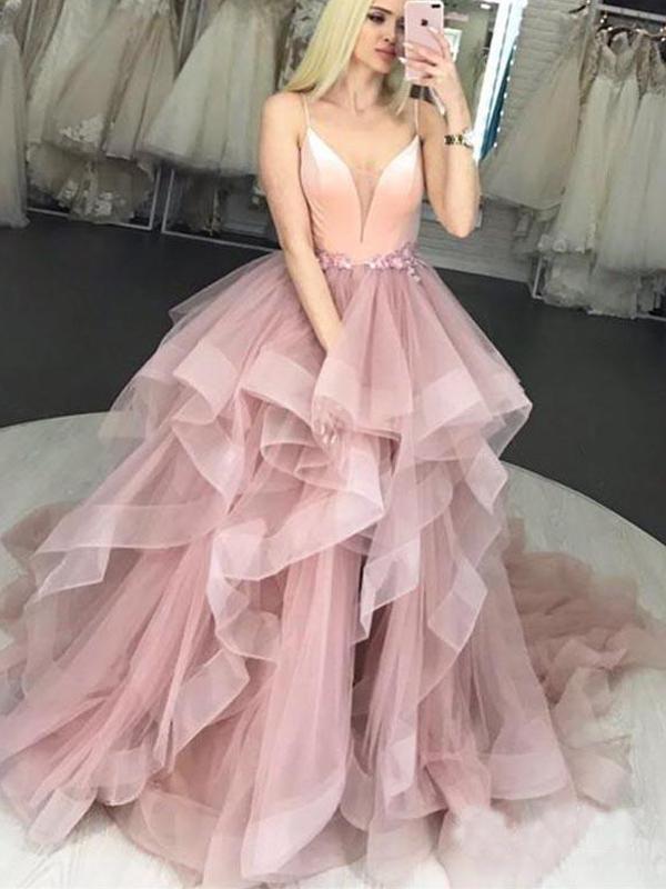 Elegant Prom Dresses Tulle Ruffles Straps Ball Gown Pink Evening dress G3200