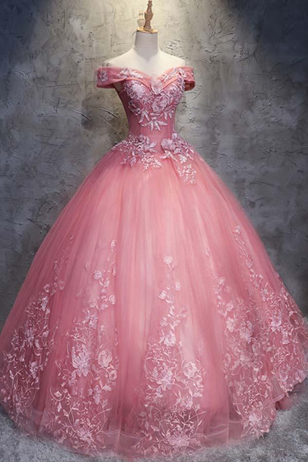 Ball Gown Off-the-Shoulder Tulle Wedding Dress With Appliques Tulle Prom dress