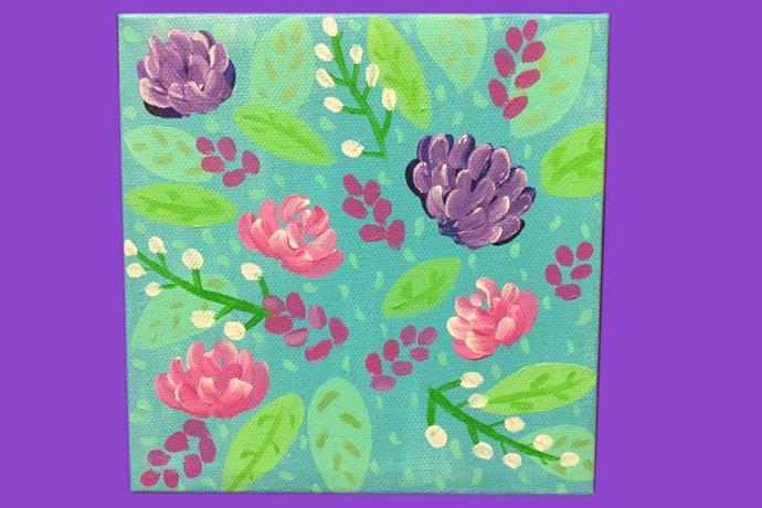"""Warm Beginnings"" / Spring Flower Acrylic Painting"