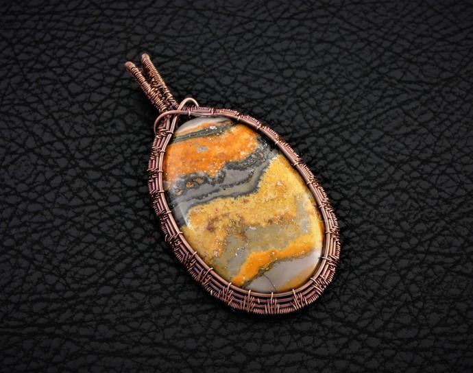Bumblebee Jasper Copper Pendant; Wire Wrapped Woven Pendant (P118)